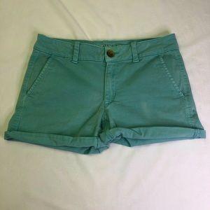 AEO Super Stretch Midi Shorts Chino Teal Roll Cuff